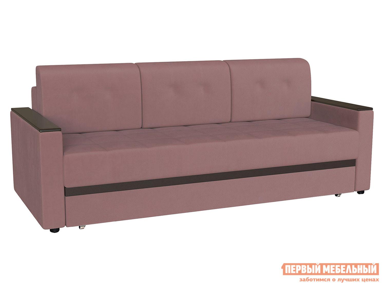 Прямой диван  Атланта Орхидея, велюр / Вставка Mercury Dark Brown 524, иск. кожа