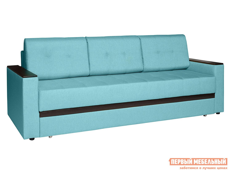 Прямой диван Атланта Лазурный, рогожка / Вставка Mercury Dark Brown 524, иск. кожа фото