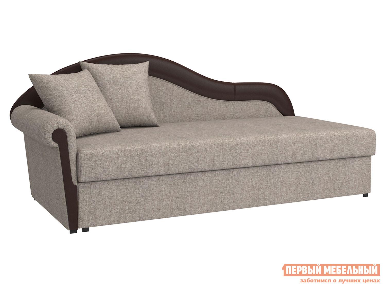 Прямой диван  Вентура Серо-бежевый, рогожка / Коричневый, иск. кожа, Левый Мягкая Линия 90076