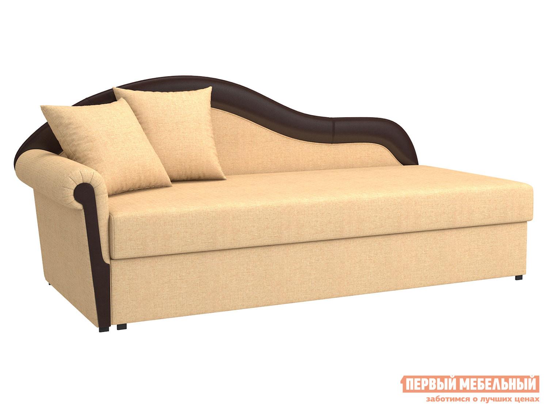 Угловой диван  Вентура Песочный, рогожка / Коричневый, иск. кожа, Левый Мягкая Линия 90073
