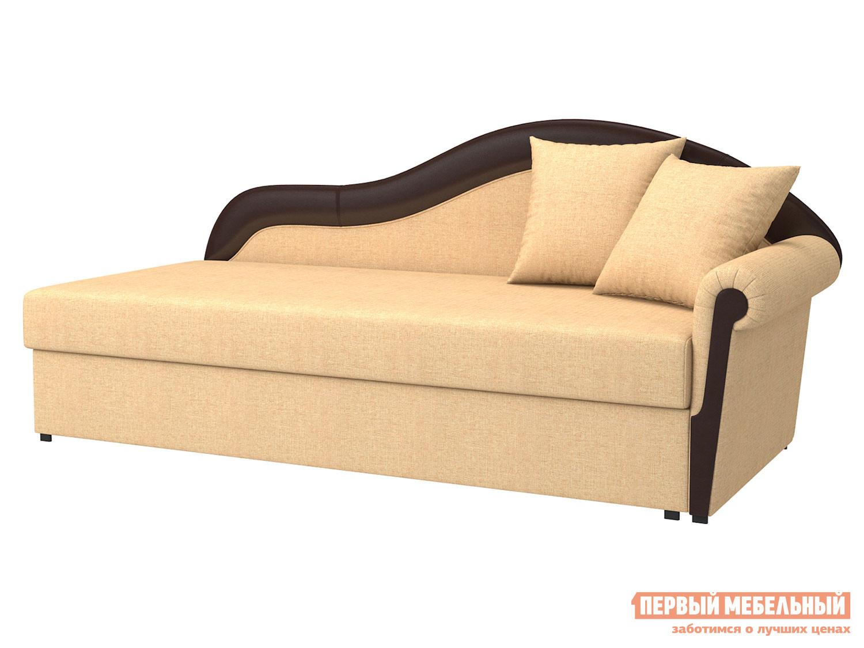 Прямой диван  Вентура Песочный, рогожка / Коричневый, иск. кожа, Правый Мягкая Линия 90074