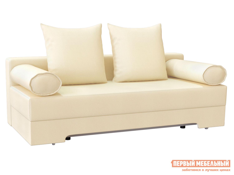 Прямой диван  Челси Кремовый, экокожа