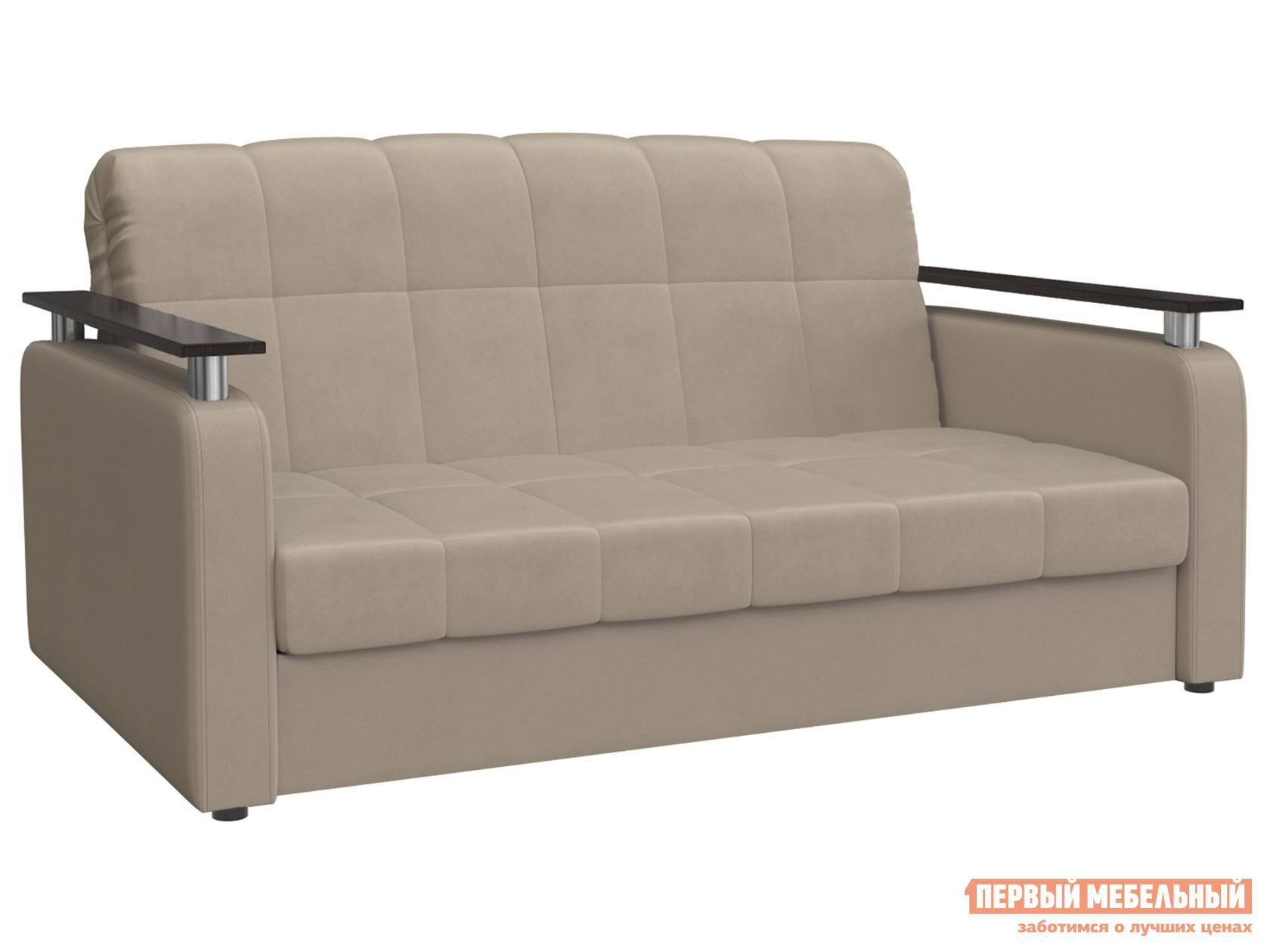 Прямой диван  Денвер / Люкс Латте, велюр, 120х200 см, Независимый пружинный блок Мягкая Линия 117682