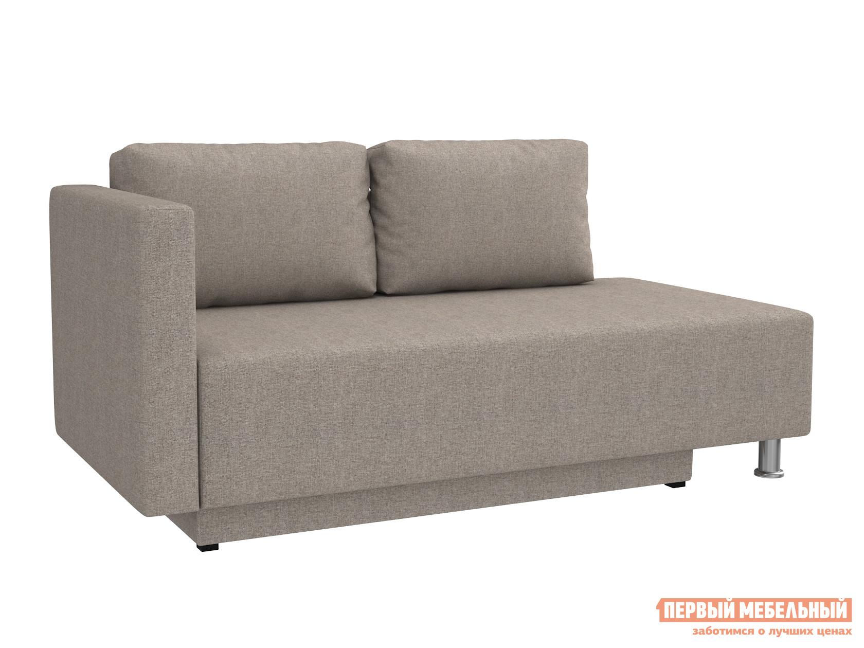 Прямой диван  Мэдисон Серо-бежевый, рогожка, Левый