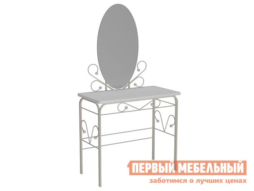 Туалетный столик  Дамский столик Сандра Белый металл / Белый
