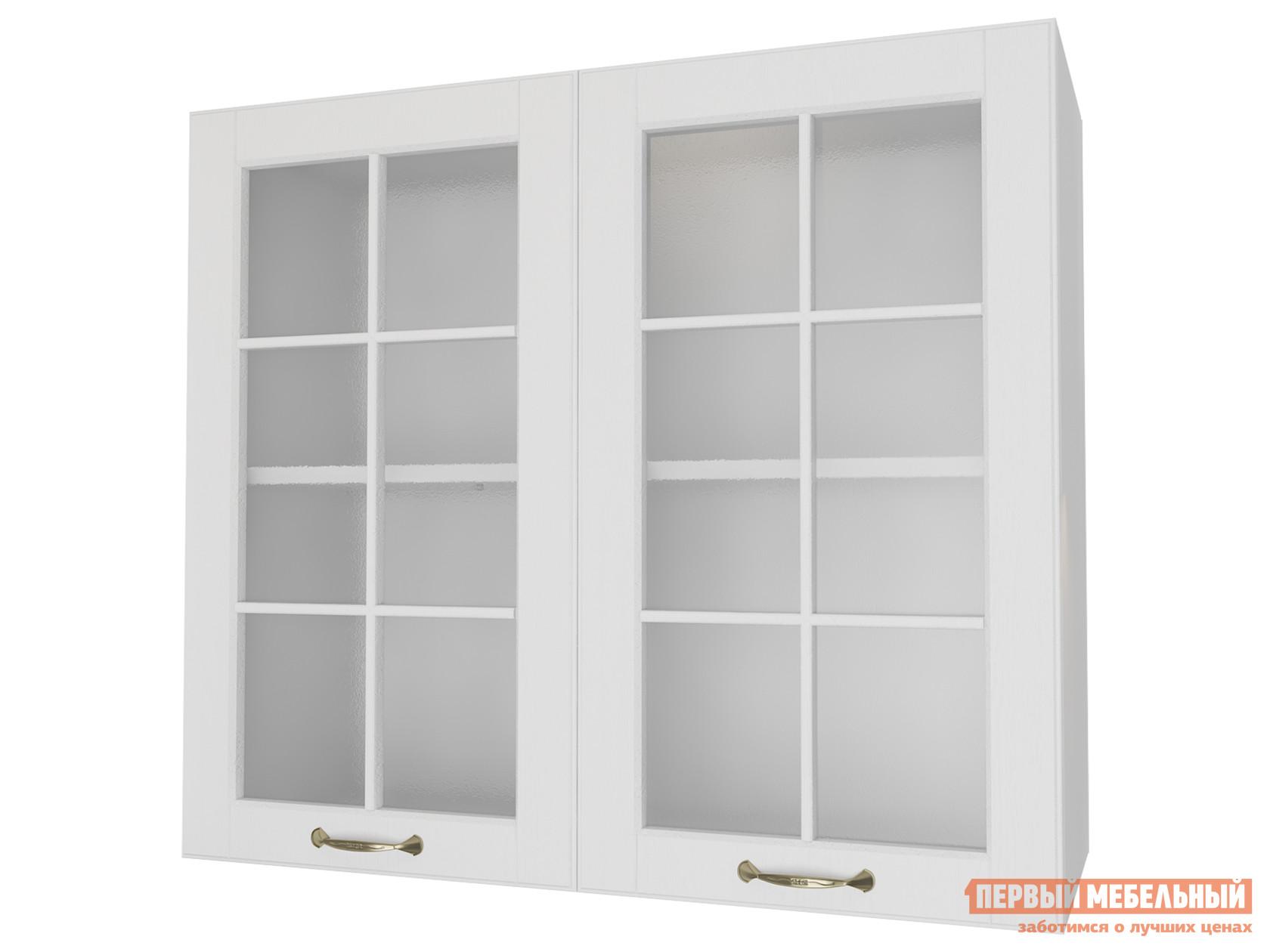 Кухонный модуль  Шкаф 2 двери со стеклом 80 см Палермо Бианко РДМ 84039