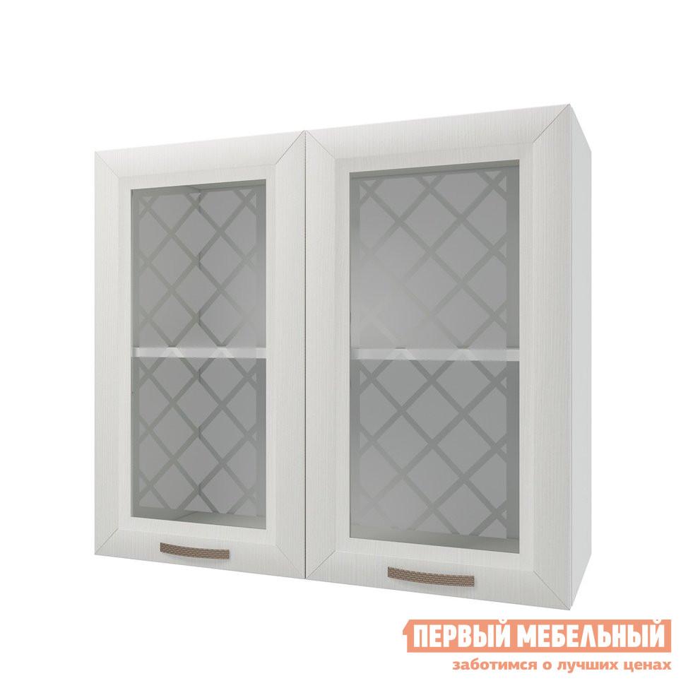 Кухонный модуль Первый Мебельный Шкаф 2 двери со стеклом 80 см Агава