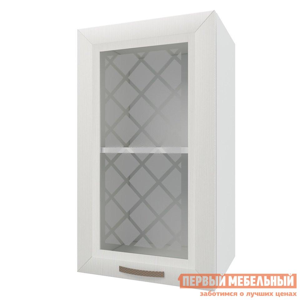 Шкаф-витрина ПМ: РДМ Шкаф 1 дверь со стеклом 40 см Агава Лиственница светлая
