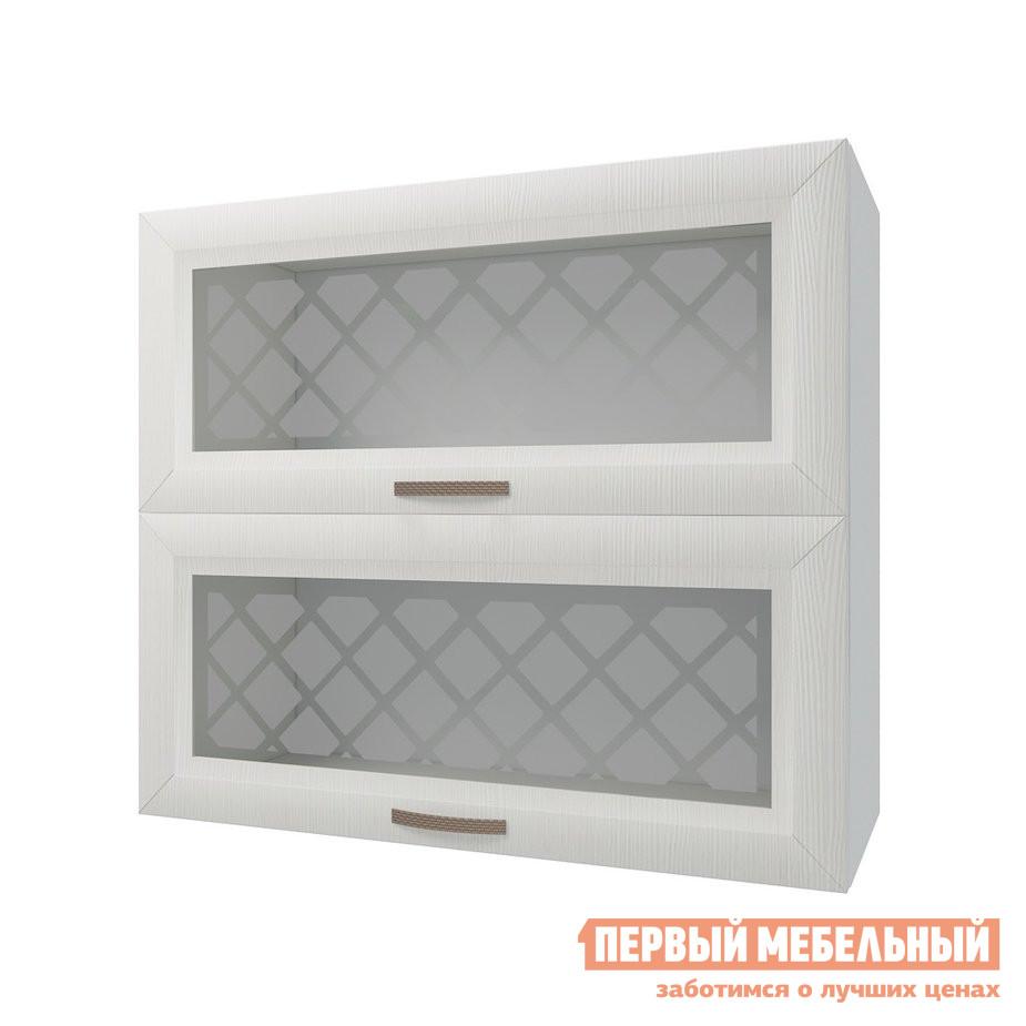 Кухонный модуль Шкаф антресольный 2 двери со стеклом 80 см Агава Лиственница светлая фото