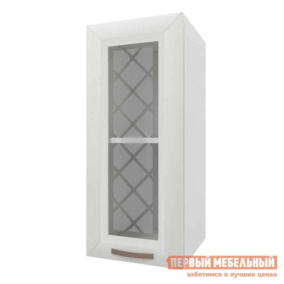 Шкаф-витрина ПМ: РДМ Шкаф 1 дверь со стеклом 30 см Агава Лиственница светлая