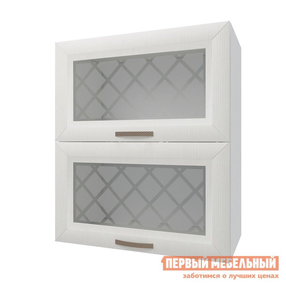 Кухонный модуль  Шкаф антресольный 2 двери со стеклом 60 см Агава Лиственница светлая РДМ 80241