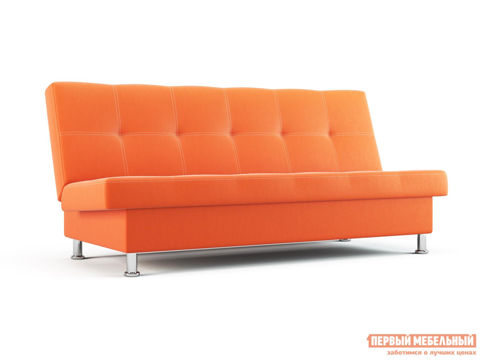 Прямой диван  Бомонд Оранжевый, экокожа