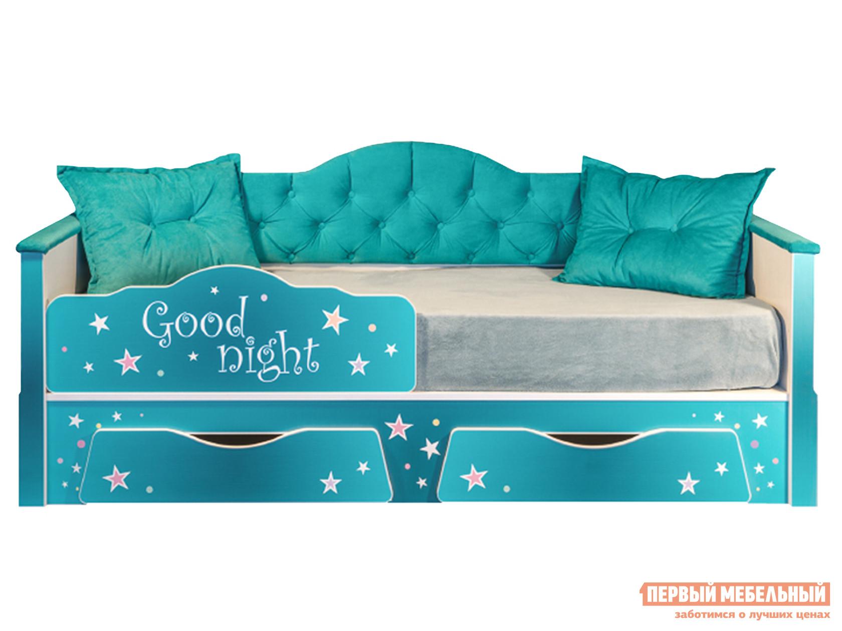 цена Детская кровать Первый Мебельный Кровать Ноктюрн, белый, берген азуре (бирюзовый) онлайн в 2017 году