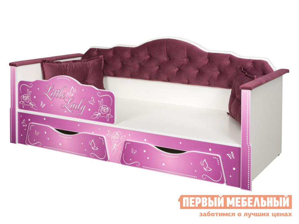 Детская кровать  Кровать Ноктюрн, белый, берген азуре (бирюзовый) Белый / Велутто 15 темный ягодный — Кровать Ноктюрн, белый, берген азуре (бирюзовый) Белый / Велутто 15 темный ягодный