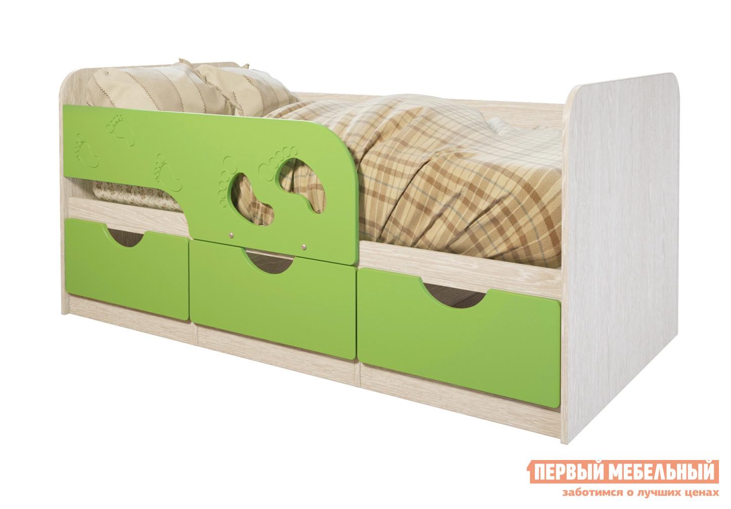 Детская кровать  Лего 1 Дуб Атланта / Лайм глянец — Лего 1 Дуб Атланта / Лайм глянец