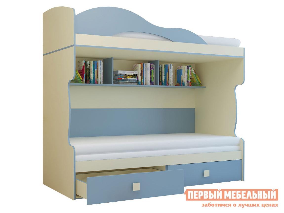 Кровать  Кровать 2-х этаж + тахта Радуга Голубой, Без лестницы