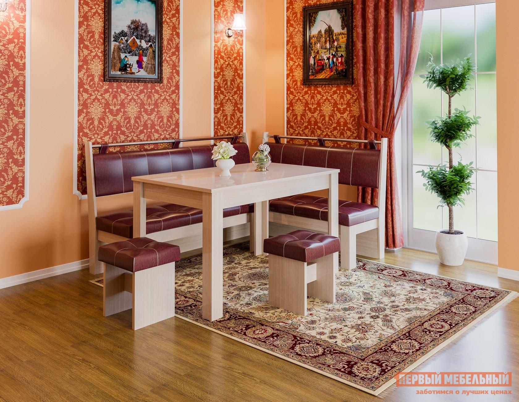 Кухонный уголок  Кухонный уголок Остин Дуб Белфорт, Бордо, экокожа — Кухонный уголок Остин Дуб Белфорт, Бордо, экокожа
