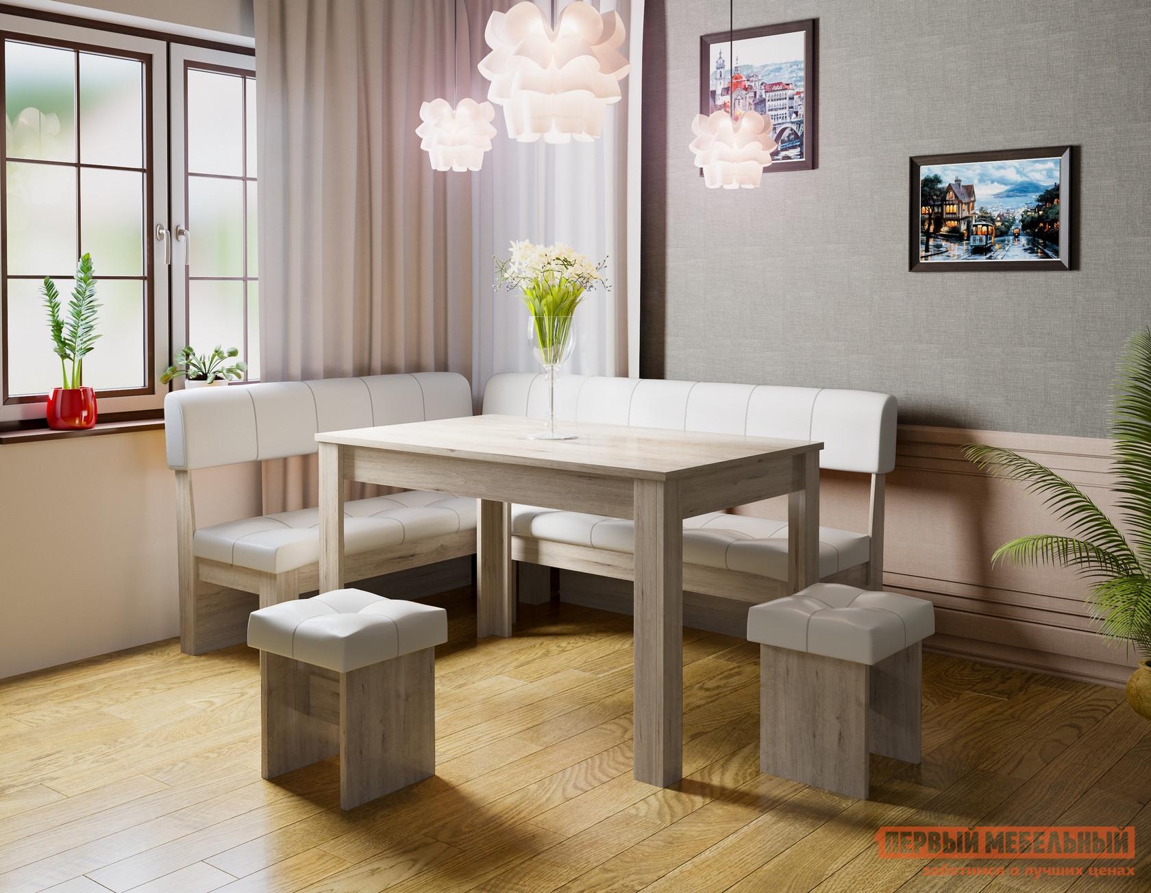 Кухонный уголок  Кухонный уголок Валенсия Дуб Бонифаций, Светлый, экокожа — Кухонный уголок Валенсия Дуб Бонифаций, Светлый, экокожа
