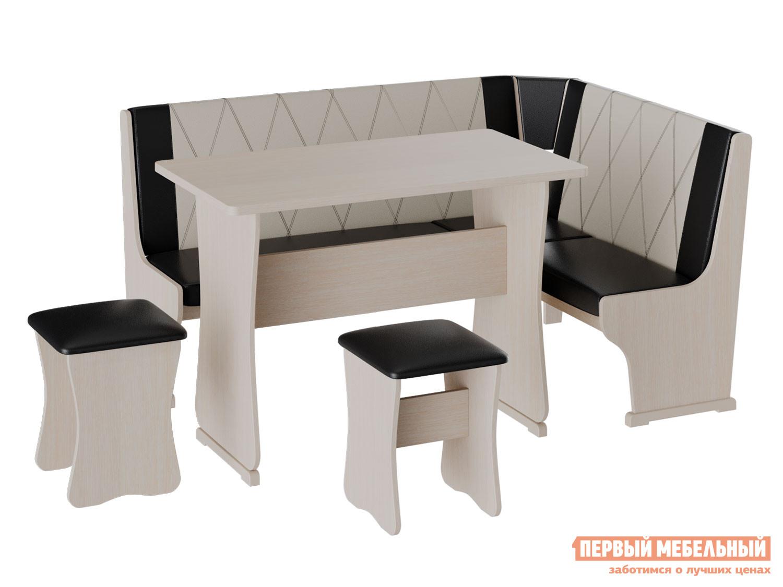 Кухонный уголок Кухонный уголок Сити 2 Дуб / Крем-коричневый, Большой фото
