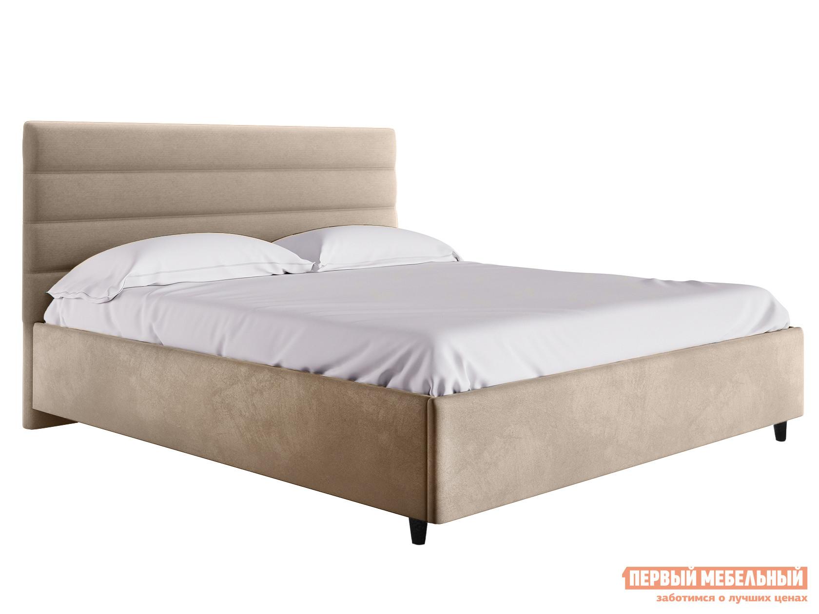 Двуспальная кровать  Кровать с подъемным механизмом Франческа ПМ Бежевый, велюр, 1400 Х 2000 мм