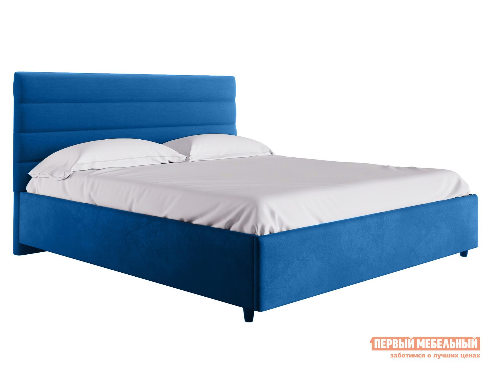 Двуспальная кровать  Кровать с подъемным механизмом Франческа ПМ Синий, велюр, 1800 Х 2000 мм