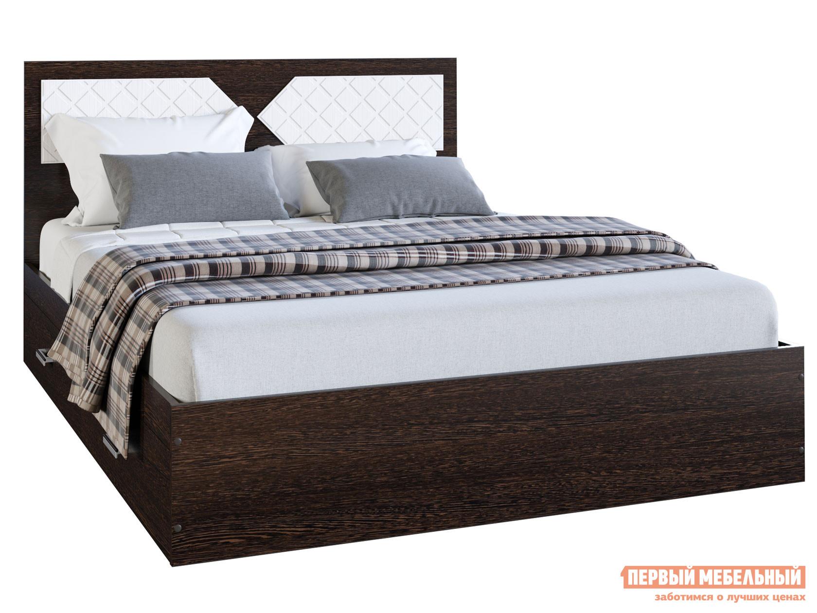 Двуспальная кровать  Кровать Вероника Венге / Лиственница светлая, 1400 Х 2000 мм — Кровать Вероника Венге / Лиственница светлая, 1400 Х 2000 мм