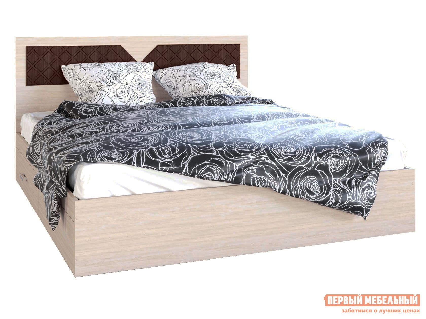 Двуспальная кровать  Вероника Ясень шимо светлый / Лиственница темная, 1600 Х 2000 мм Эра 107927