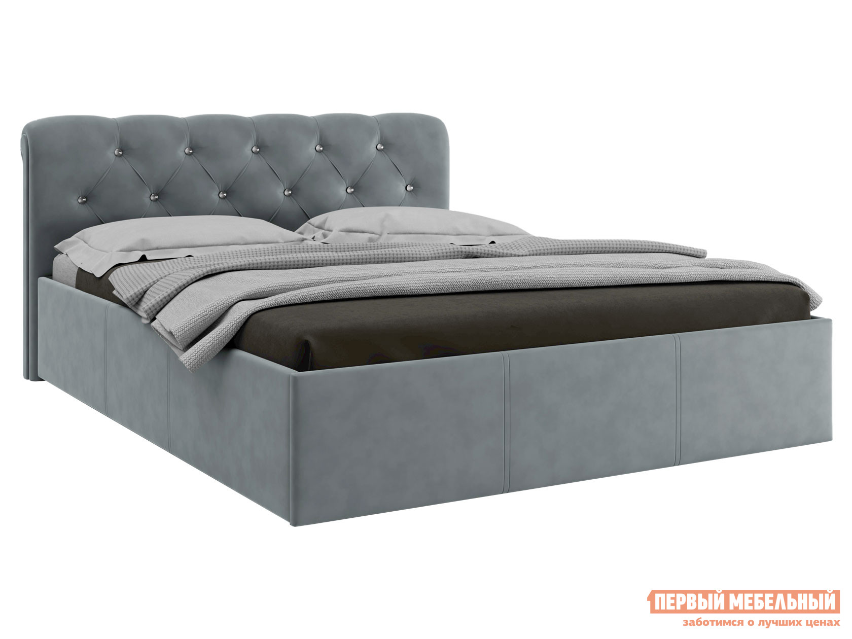 Двуспальная кровать  Кровать с ПМ Калипсо Серый, велюр, 1600 Х 2000 мм