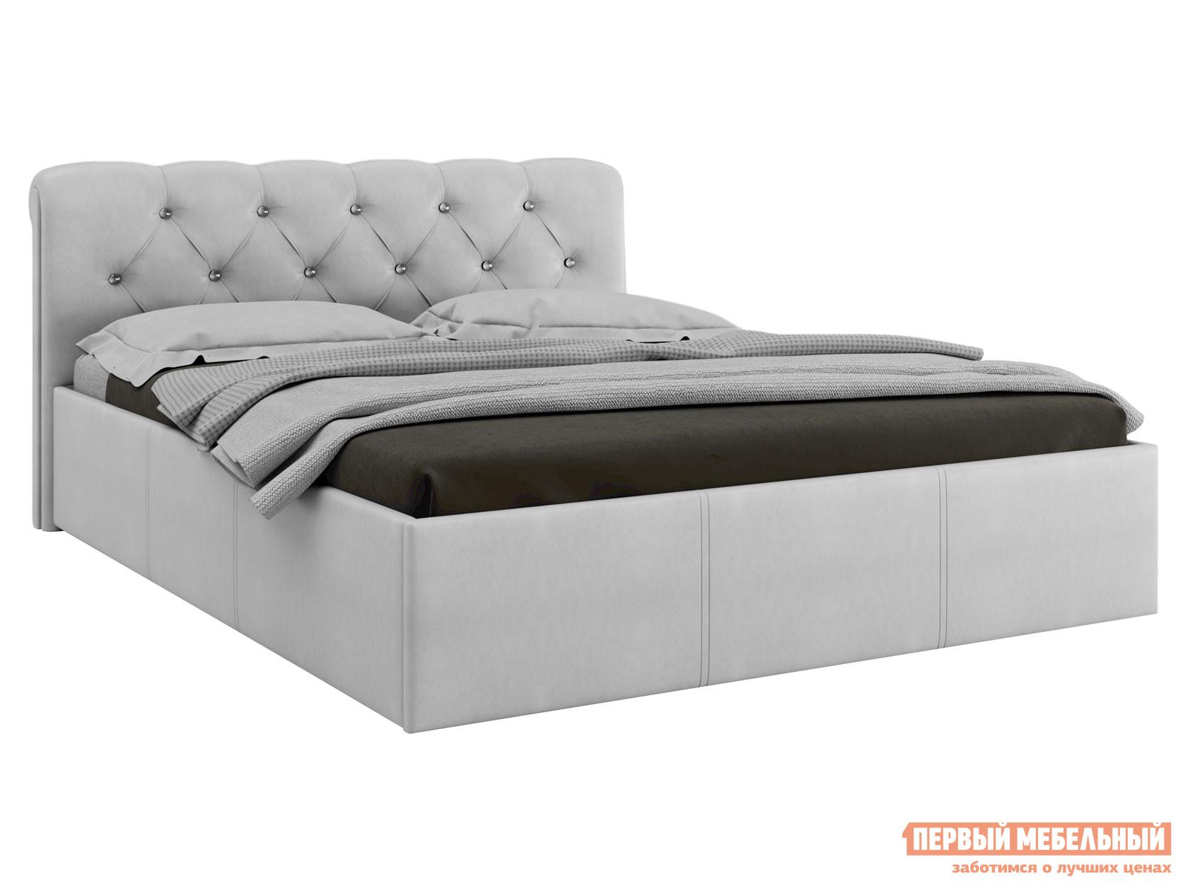 Двуспальная кровать  Кровать с ПМ Калипсо Белый, экокожа, 1400 Х 2000 мм