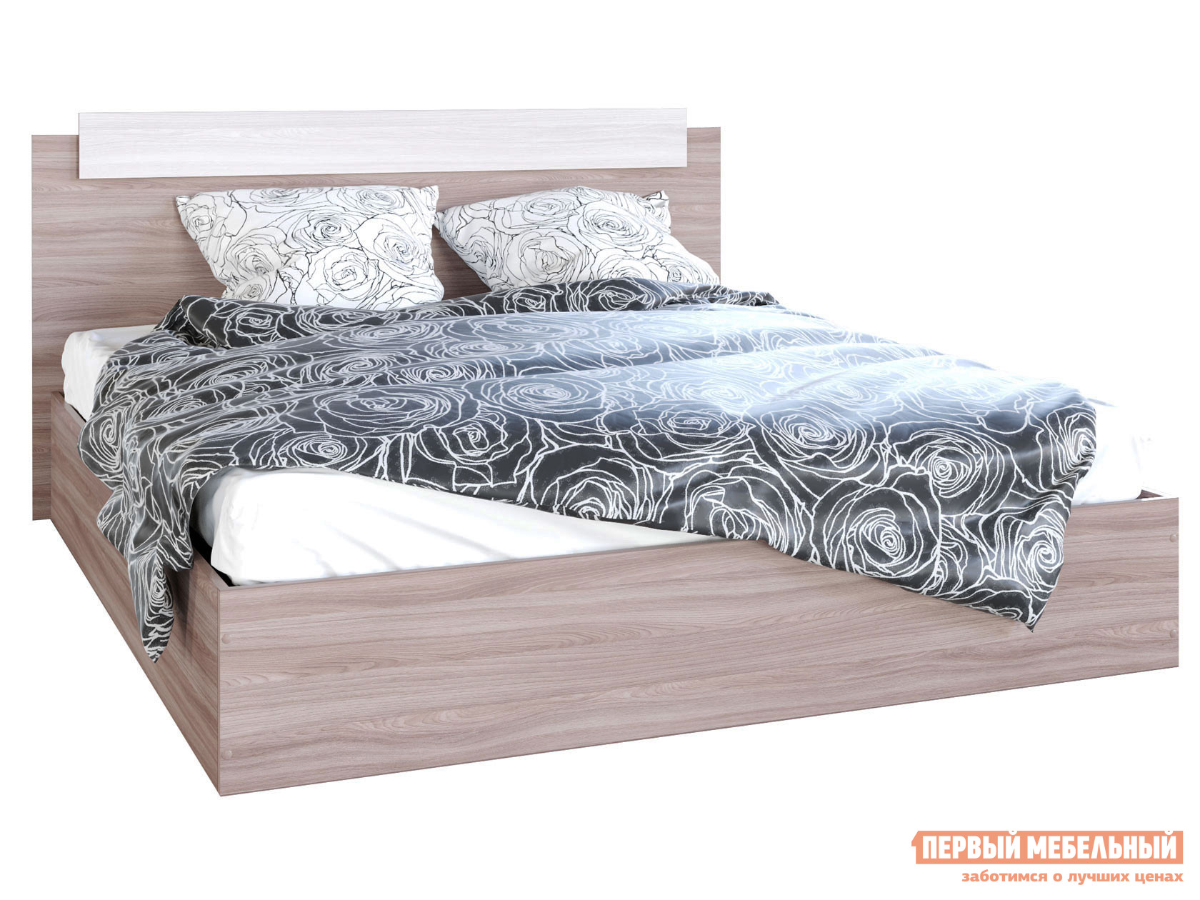 Двуспальная кровать  Кровать Эко Ясень шимо светлый / Ясень шимо темный, 1600 Х 2000 мм — Кровать Эко Ясень шимо светлый / Ясень шимо темный, 1600 Х 2000 мм