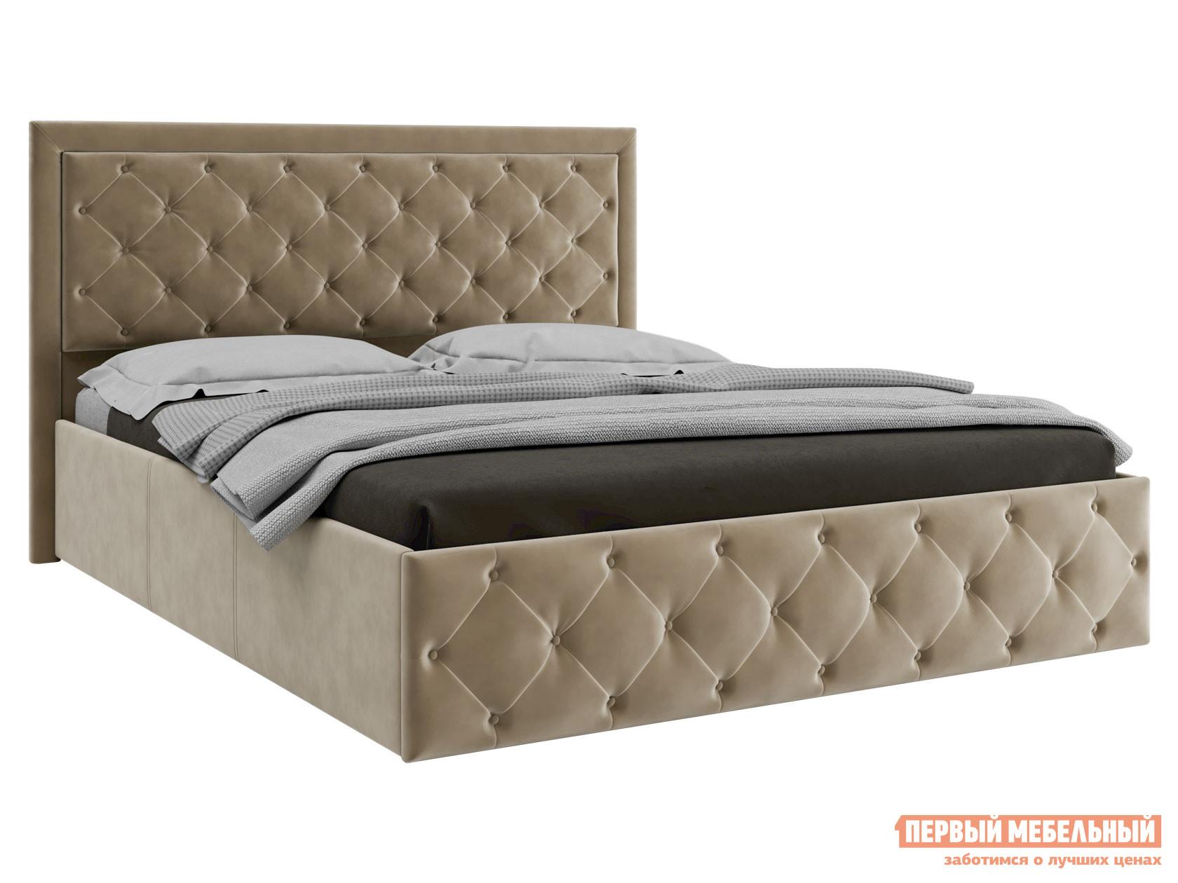 Двуспальная кровать  Кровать с ПМ Мишель Бежевый, велюр, 1600 Х 2000 мм