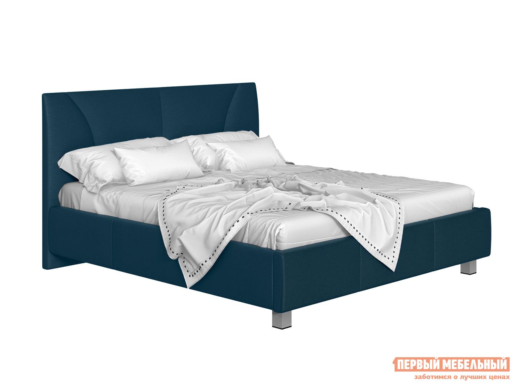 Двуспальная кровать  Кровать с подъемным механизмом Севилья Синий, экокожа, 140х200 см