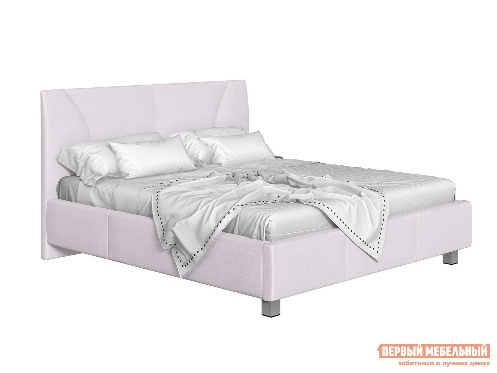 Двуспальная кровать  Кровать с подъемным механизмом Севилья Белый, экокожа, 160х200 см
