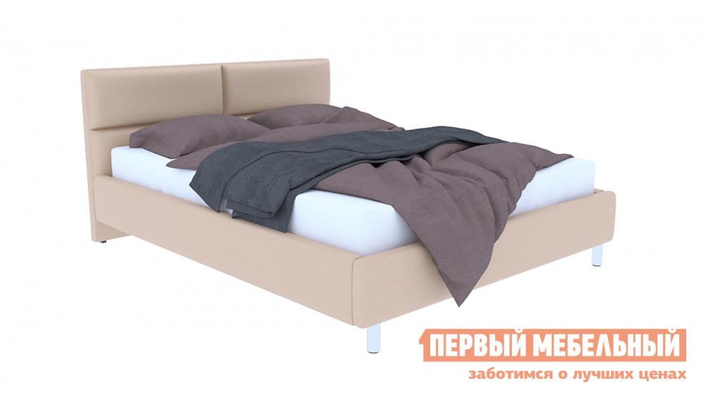 Купить со скидкой Двуспальная кровать ПМ: Первый Мебельный Кровать с подъемным механизмом Эльза Бежевый, экокожа, 1400