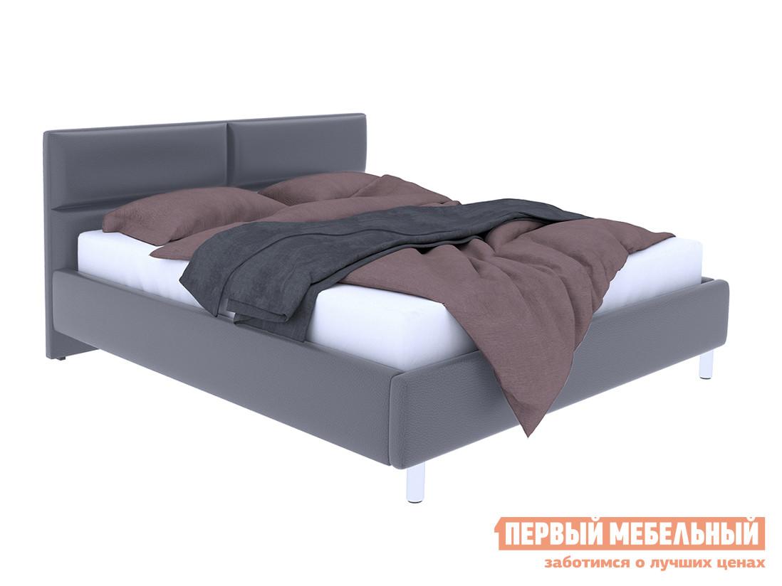 Двуспальная кровать  Кровать с подъемным механизмом Эльза Серый, экокожа, 1600 Х 2000 мм