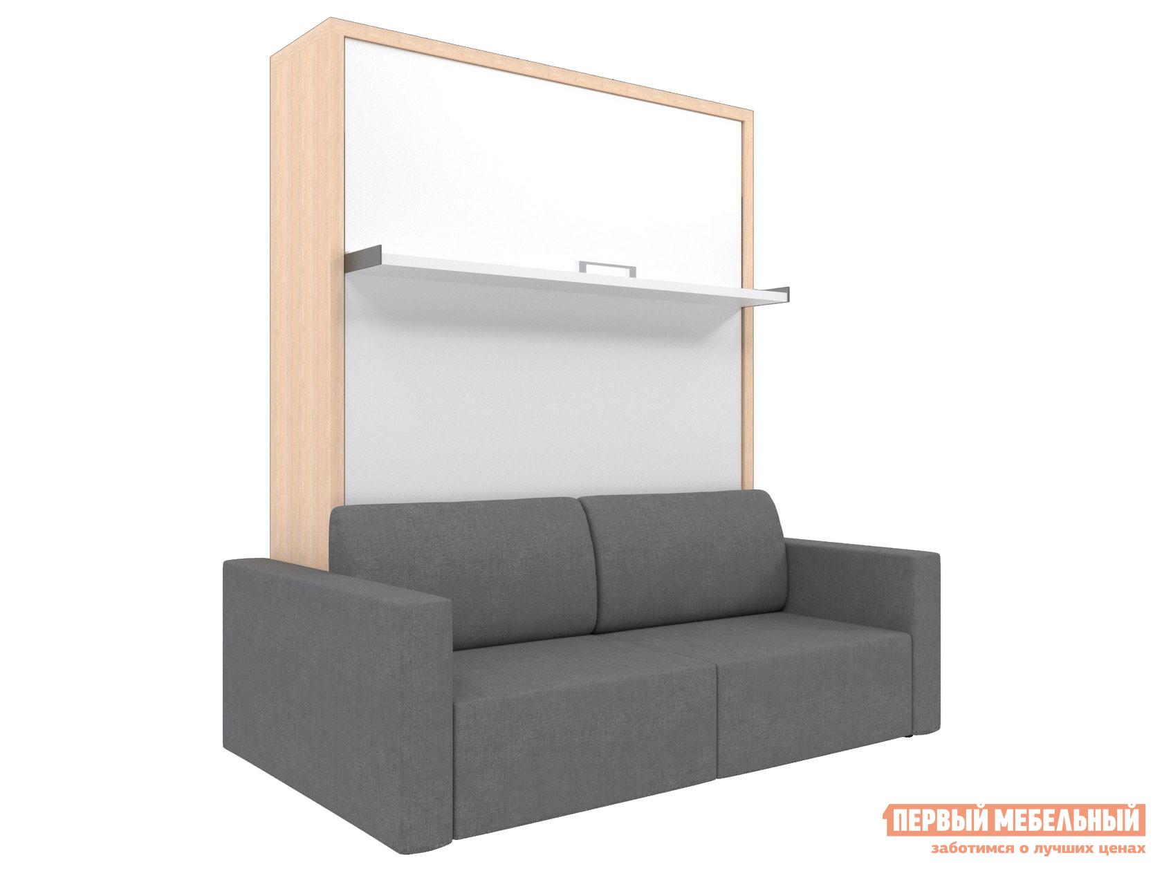 Двуспальная кровать  Смарт 1 (К+Д) Дуб, Серый, 1400 Х 2000 мм