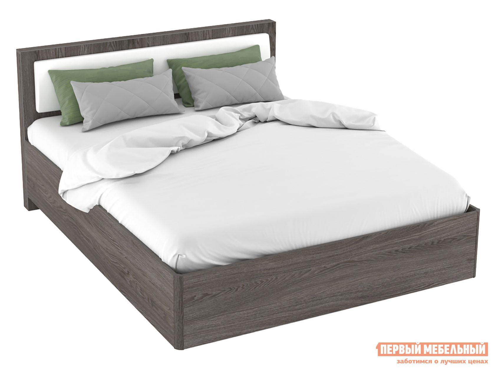 Двуспальная кровать  Кровать Вирджиния 160х200 011.54 Ясень анкор темный / Белый, кожзам — Кровать Вирджиния 160х200 011.54 Ясень анкор темный / Белый, кожзам