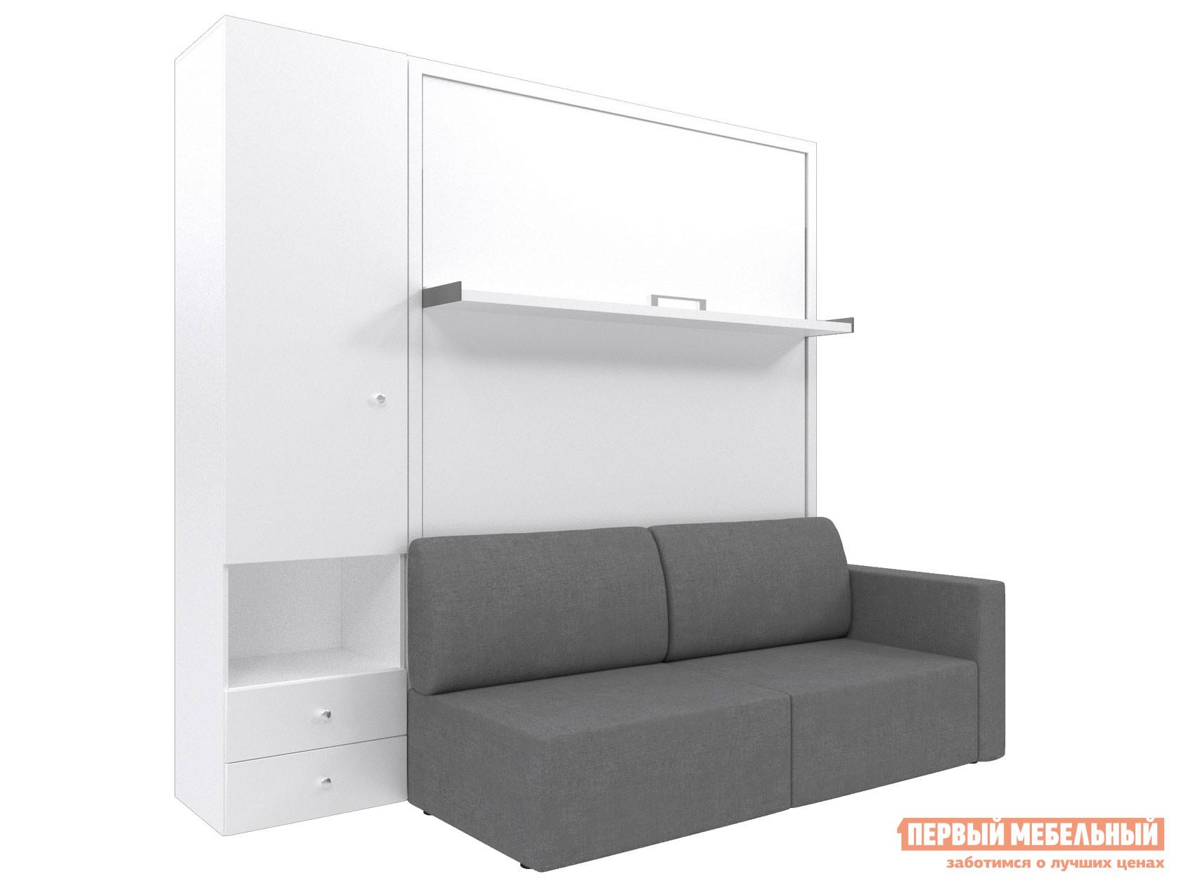 Двуспальная кровать  Смарт 3 (К+Д+Ш) Белый, Серый, 1600 Х 2000 мм