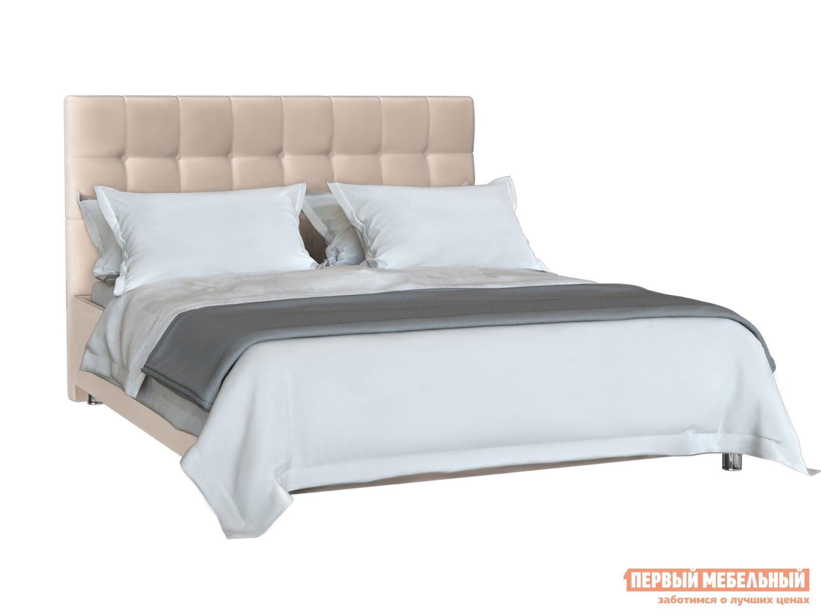 Двуспальная кровать  Кровать Тиволи Бежевый микровелюр, 1600 Х 2000 мм, С подъемным механизмом