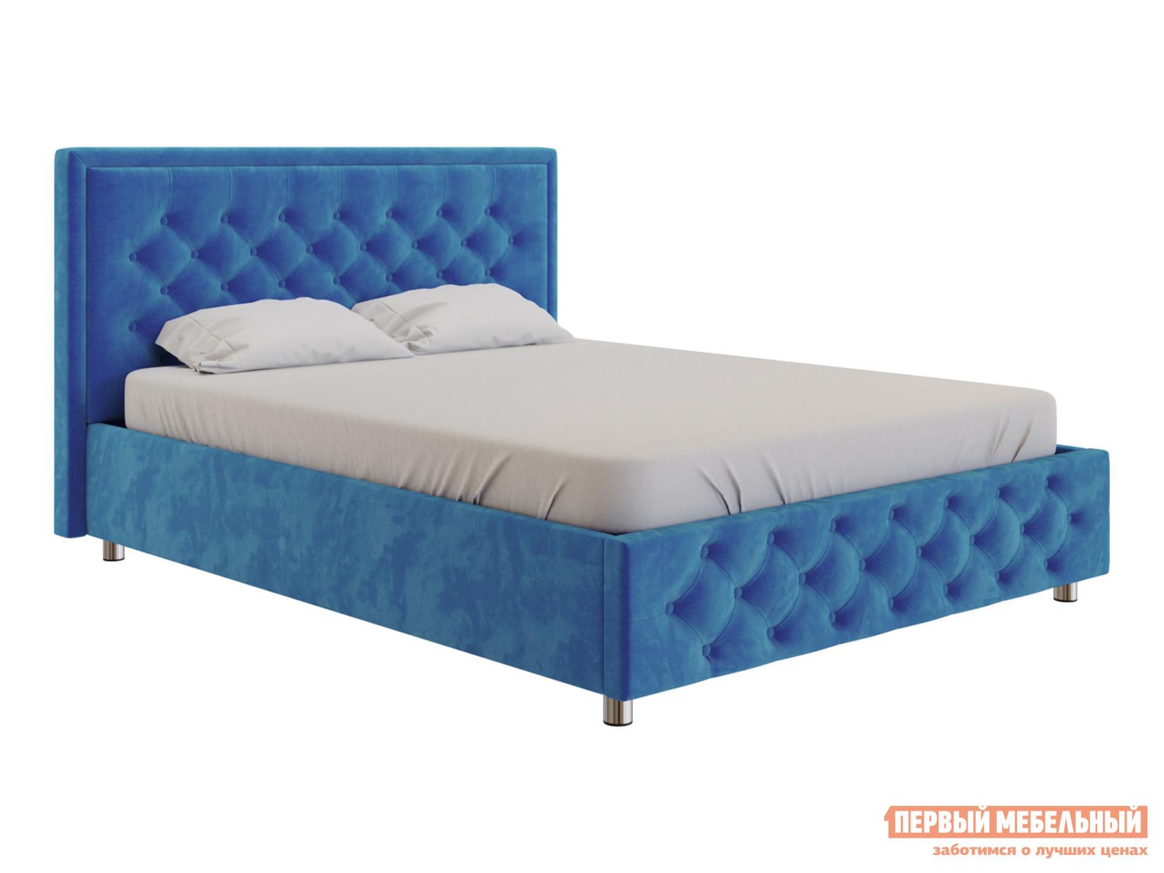 Двуспальная кровать  Кровать с подъемным механизмом Флоренция Ярко-синий, велюр, 1800 Х 2000 мм