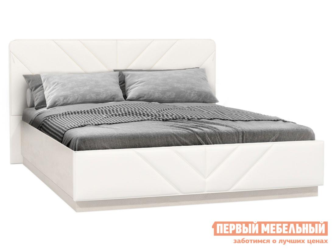 Двуспальная кровать  Кровать Амели 160х200 Шелковый камень / Экокожа белая — Кровать Амели 160х200 Шелковый камень / Экокожа белая