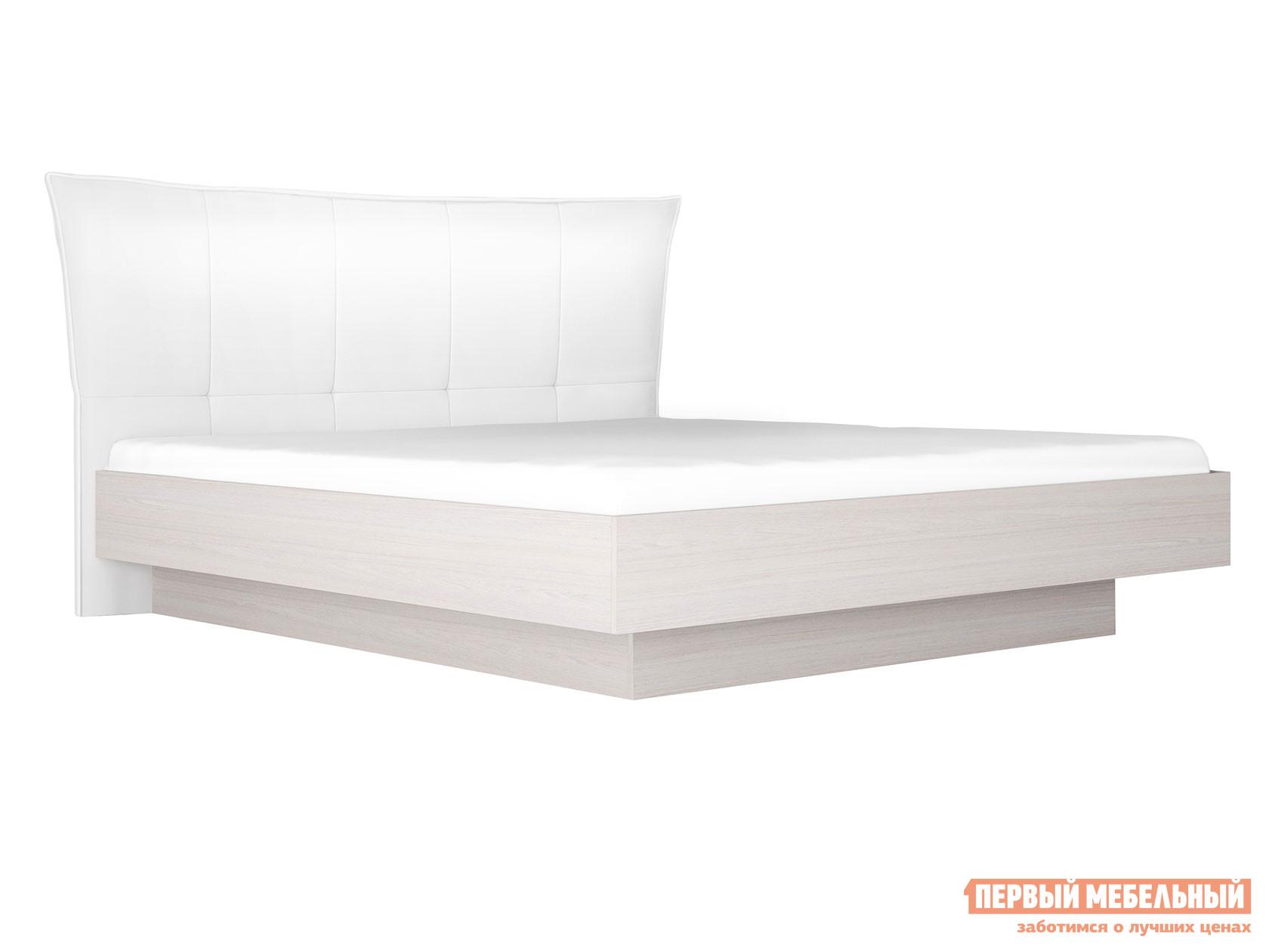 Двуспальная кровать Кровать с подъемным механизмом Парма НЕО 4 Ясень анкор светлый / Экокожа белая, 1800 Х 2000 мм фото