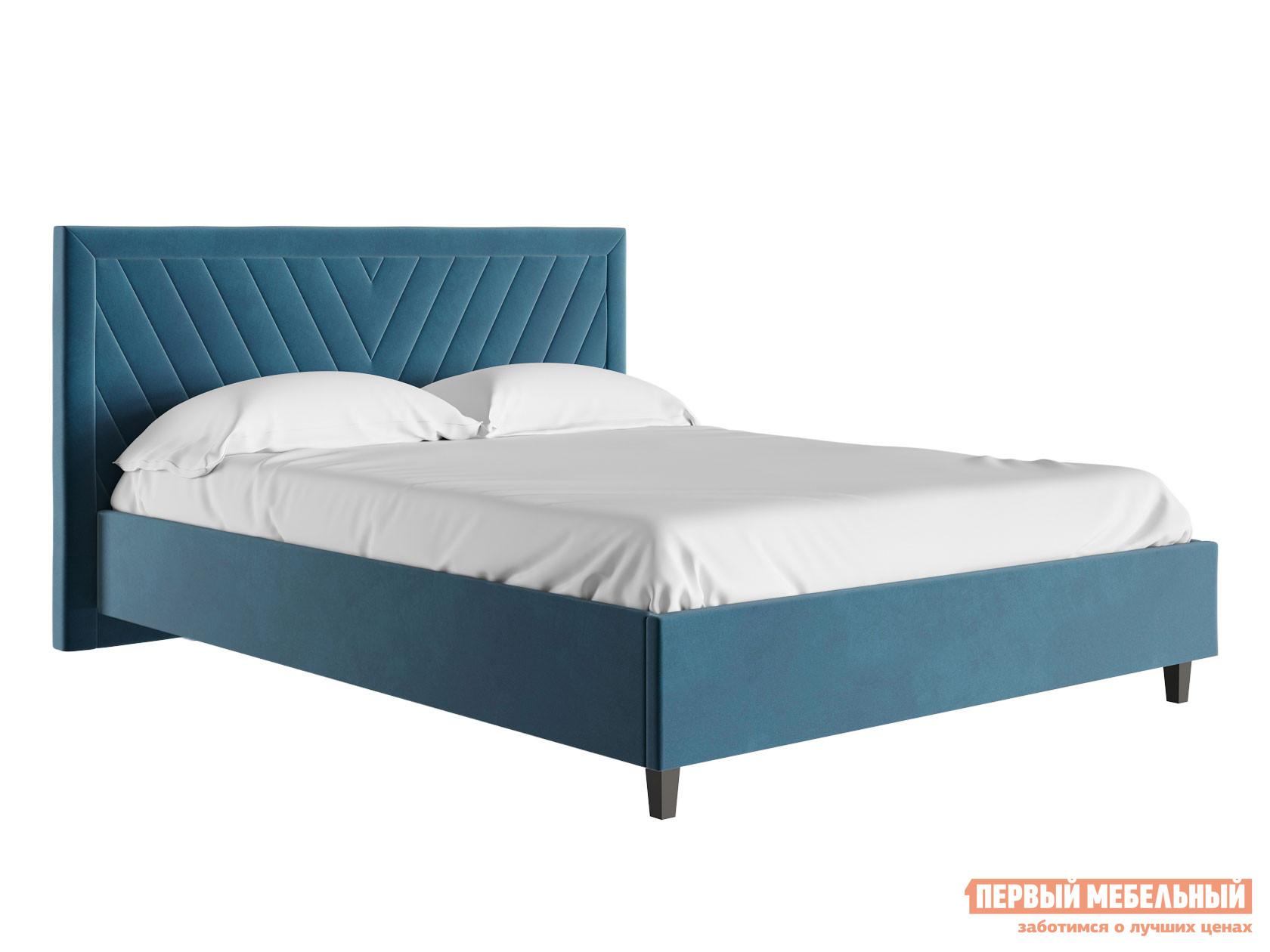 Двуспальная кровать  Кровать с подъемным механизмом Саманта Синий, микровелюр, 1600 Х 2000 мм