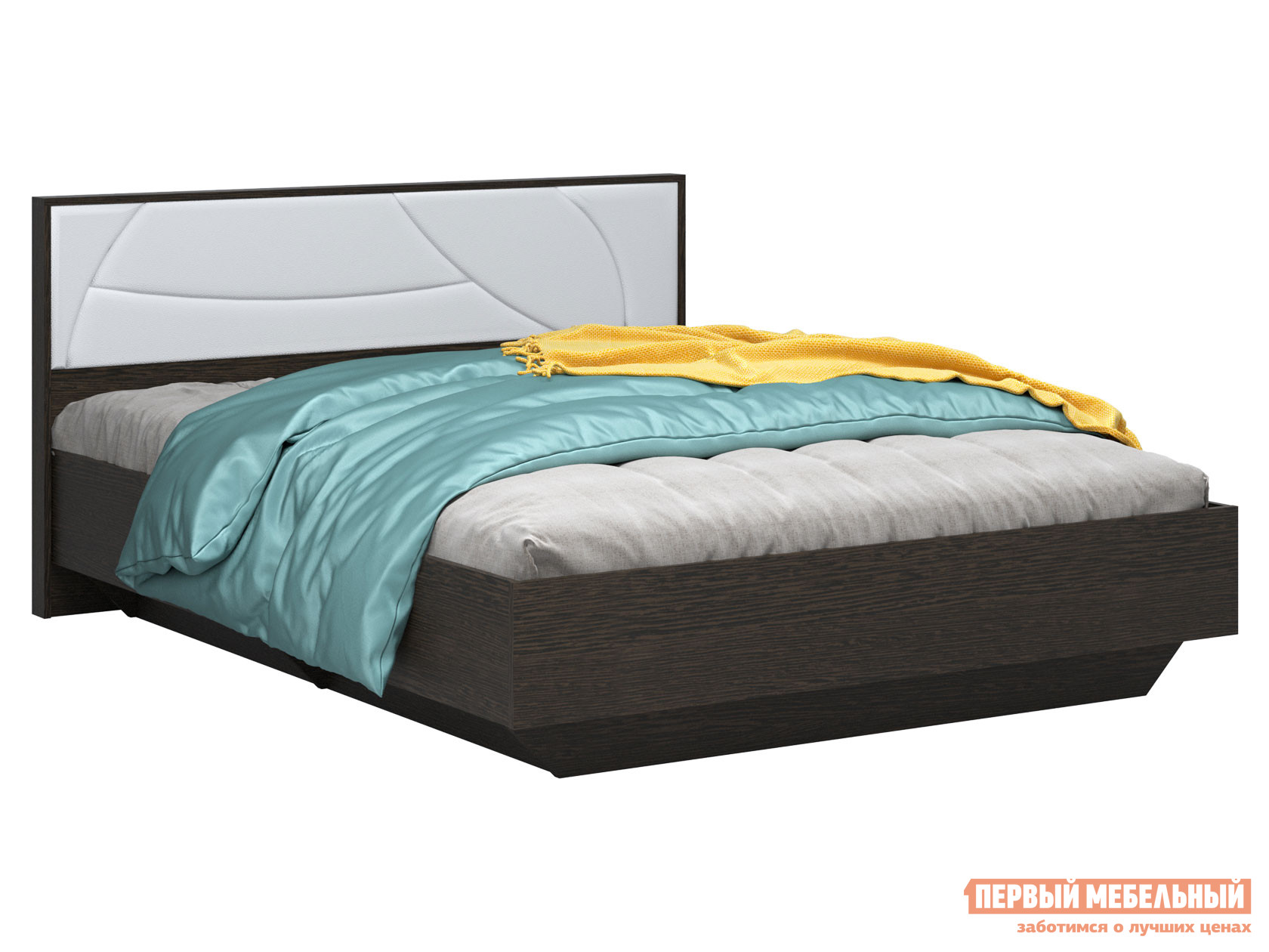 Двуспальная кровать  Мирти Люкс Венге / Белый, экокожа, 140х200 см, С анатомическим основанием ВВР 131740