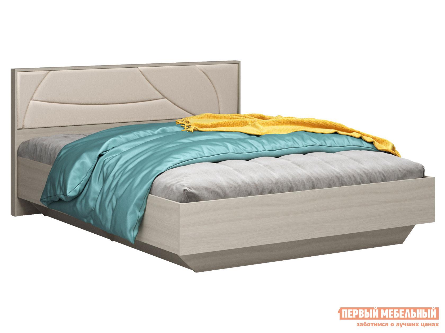 Двуспальная кровать  Мирти Люкс Ясень шимо светлый / Ваниль, экокожа, 140х200 см, С анатомическим основанием