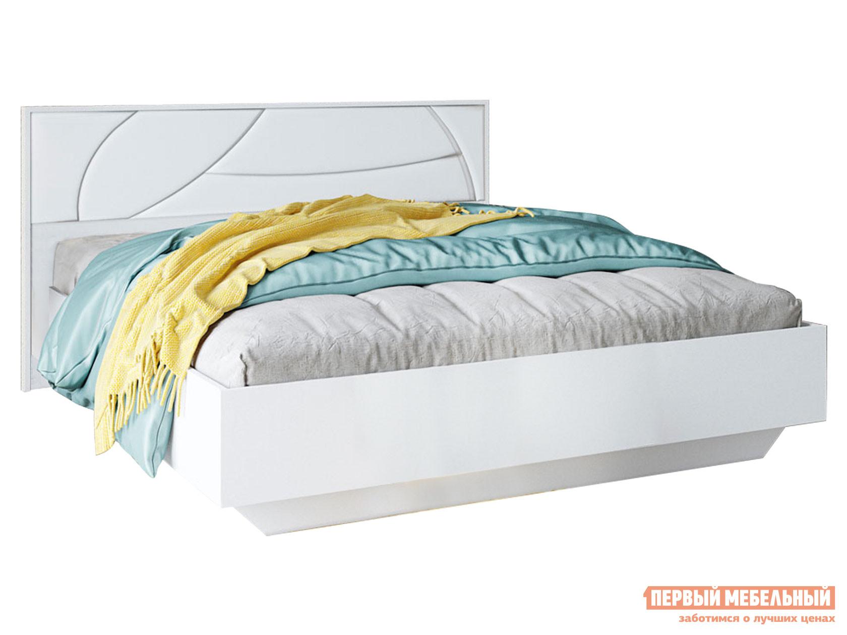 Двуспальная кровать  Мирти Люкс Белый шагрень / Белый, экокожа, 160х200 см, С анатомическим основанием