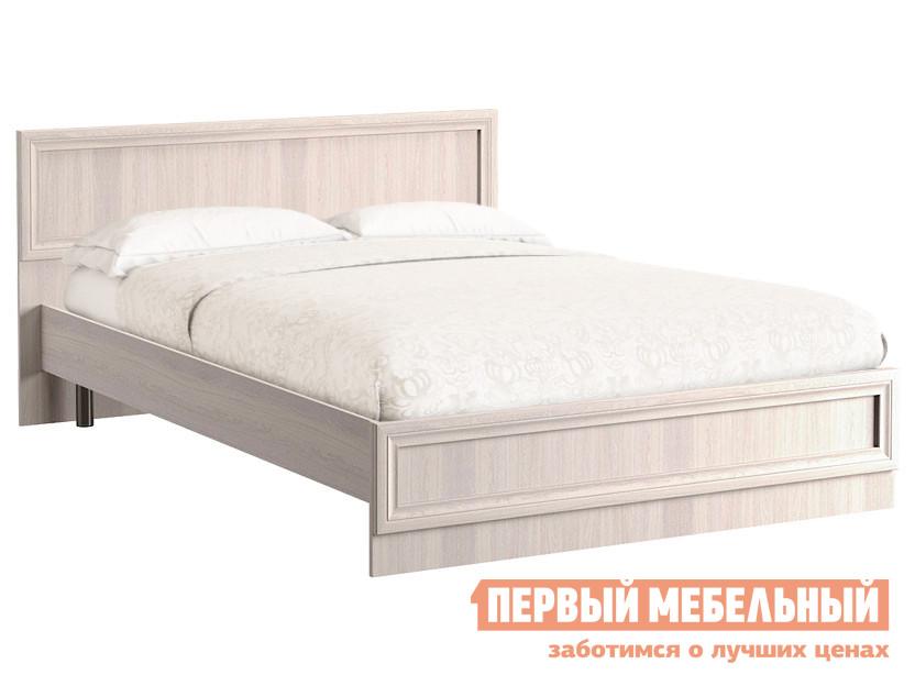 Двуспальная кровать  Аврора с основанием и ножками Ясень Анкор светлый, 1600 Х 2000 мм Моби 107245