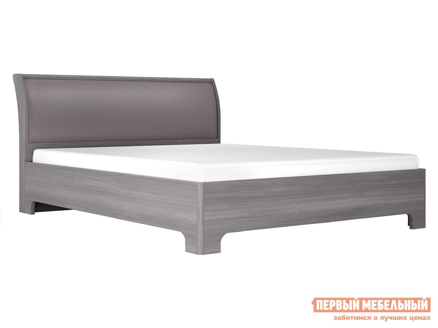 Двуспальная кровать  Кровать-3 с ортопед. основанием Лиственница темная / Экокожа дила, 1600 Х 2000 мм