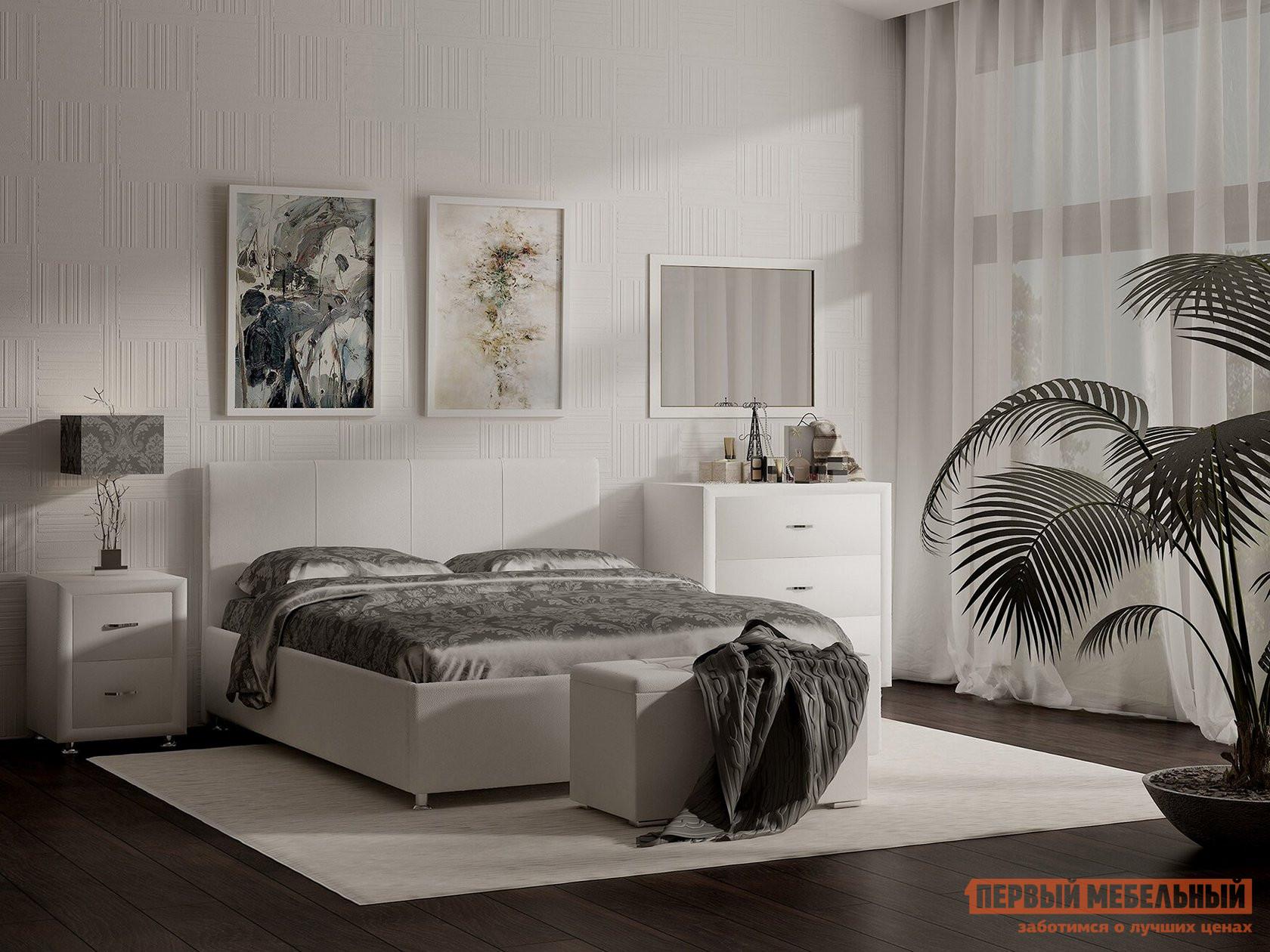 Двуспальная кровать  Кровать Прато с ортопедическим основанием Белый (экокожа), 2000 Х 2000 мм, Без подъемного механизма