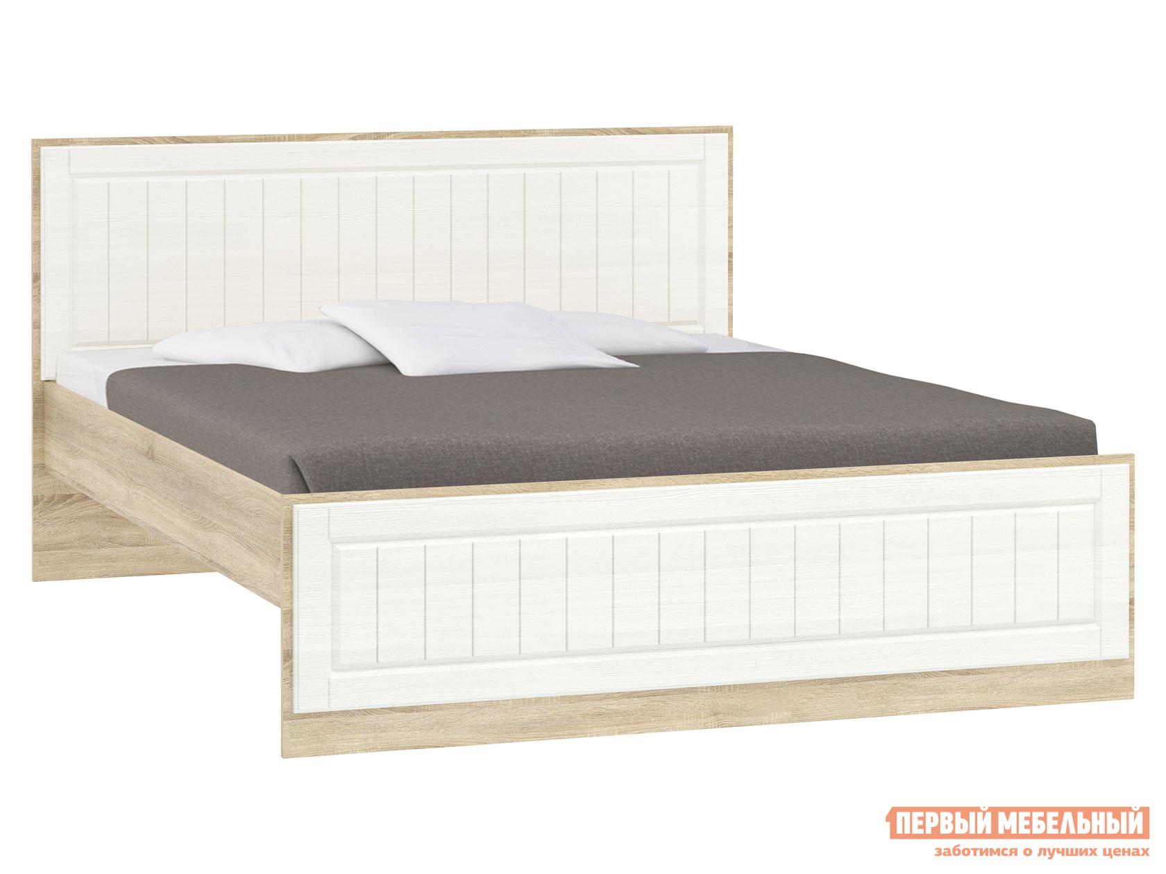 Двуспальная кровать  Оливия Лайт НМ 040.34 Дуб сонома / Белое дерево, 180х200 см, Без ящиков Сильва 123553
